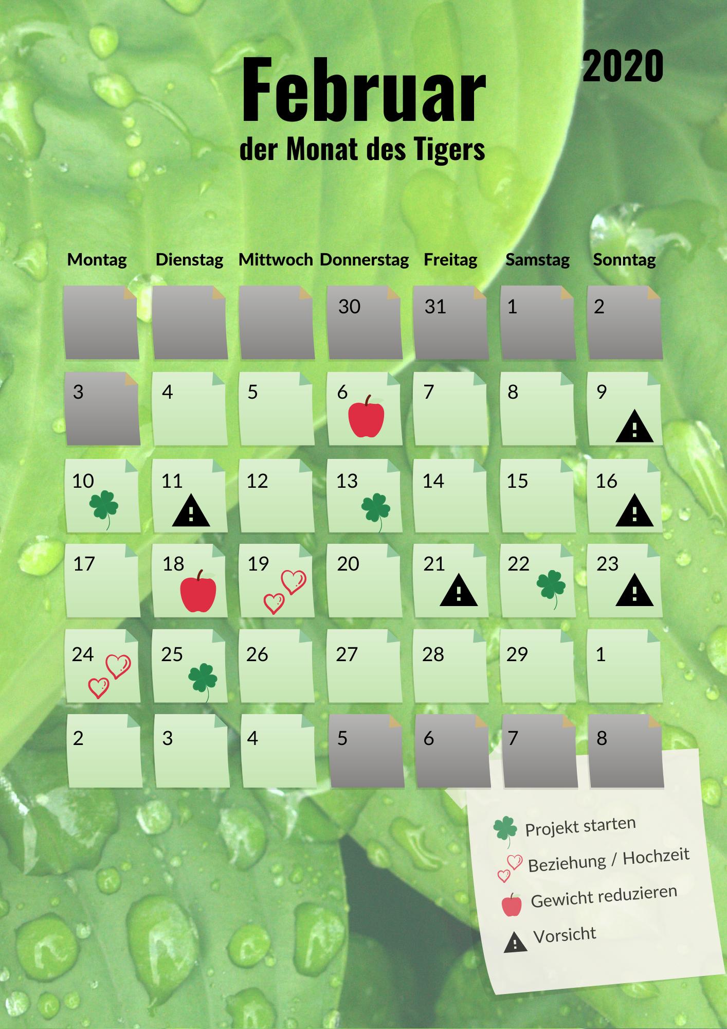 Kalenderblatt Februar 2020